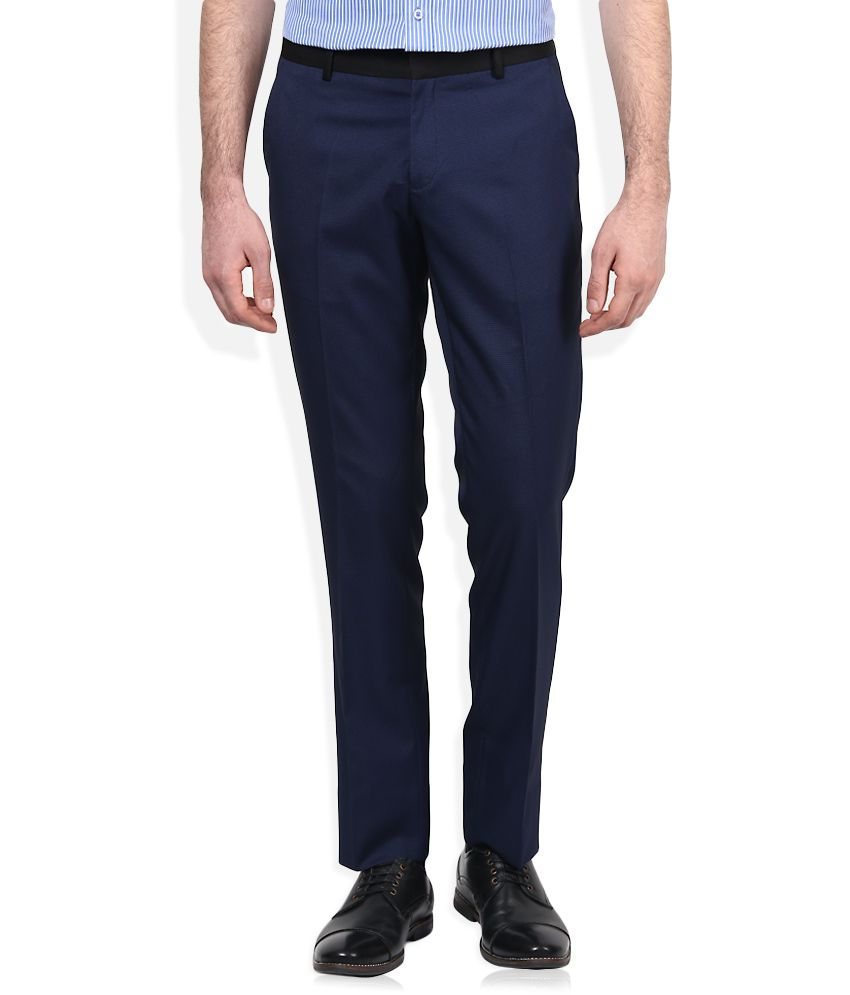 John Players Blue Solid Flat Front Trousers