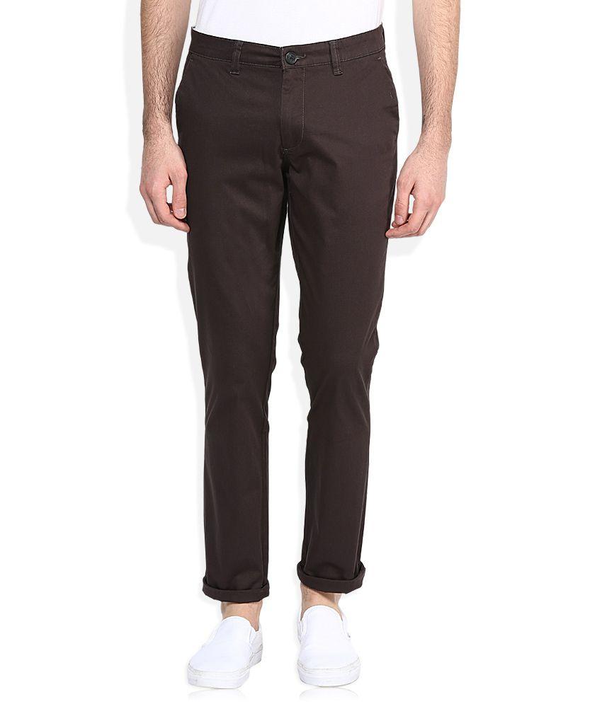 John Players Dark Brown Slim Fit Casual Trousers