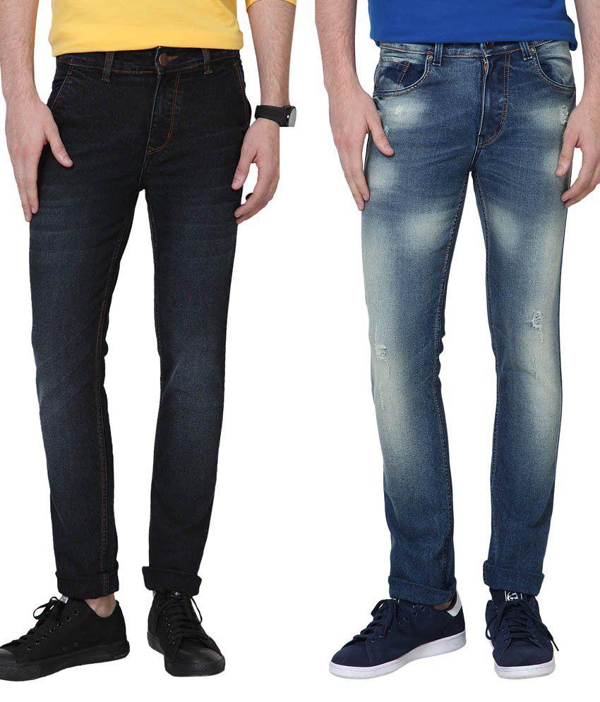Super-x Black Slim Fit Jeans Pack Of 2