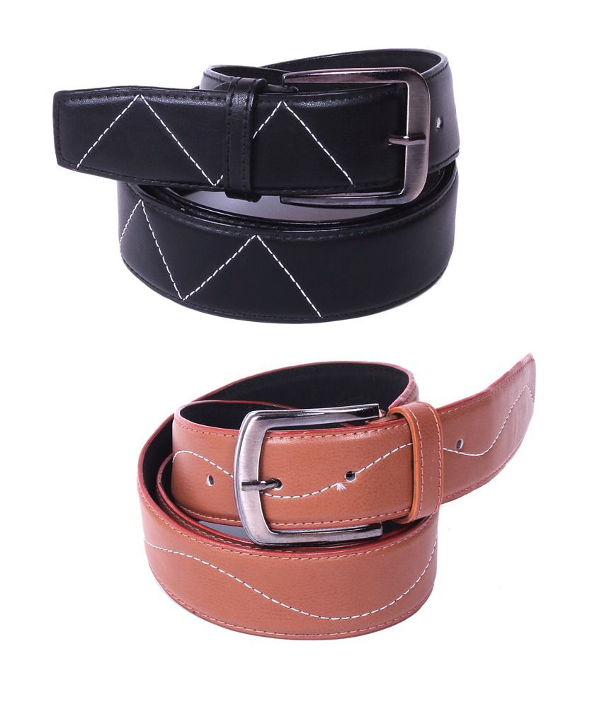 Calibro Combo of Black and Tan Non Leather Belts