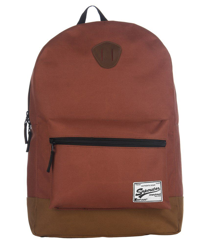 Impulse Polyester Backpack-Brown