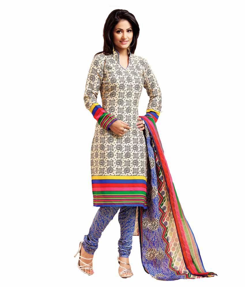 Khoobee Beige Art Crepe Unstitched Dress Material