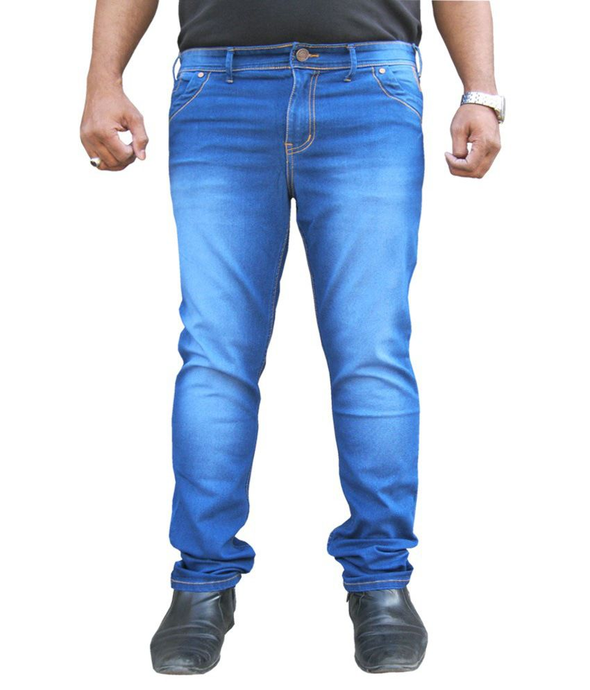 White Pelican Blue Stretchable Regular Fit Jeans For Men