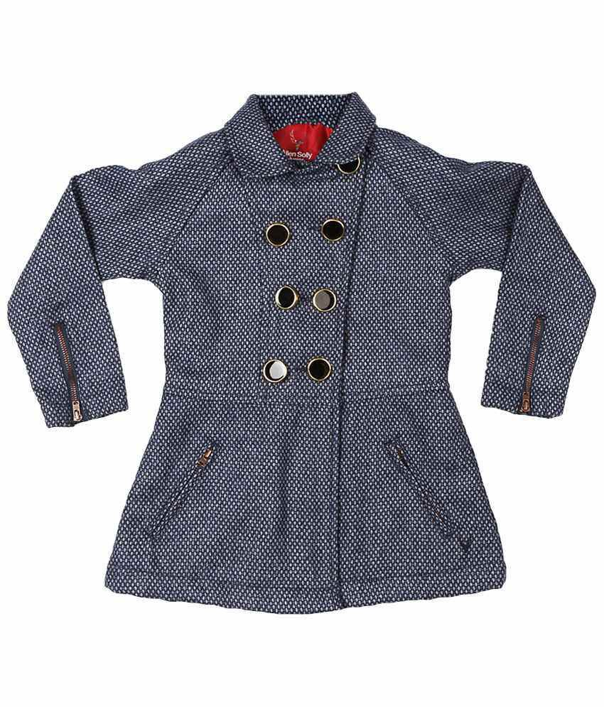 Allen Solly Navy Blue & White Full Sleeve Coat