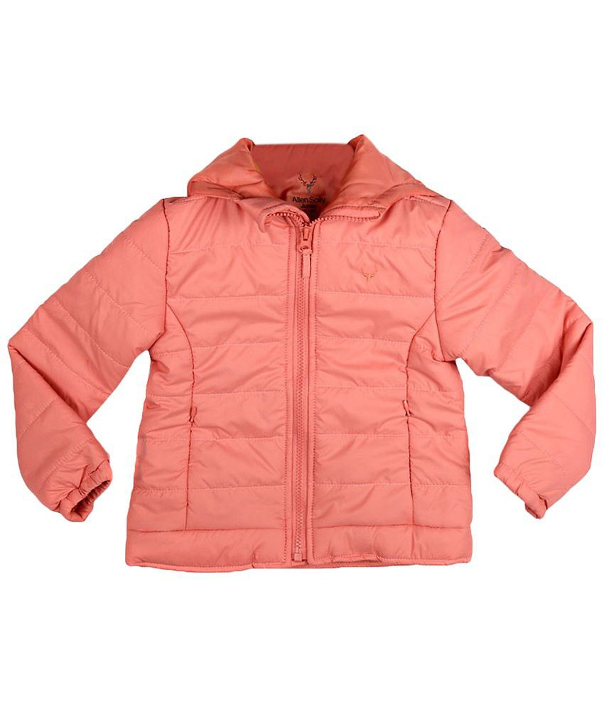 Allen Solly Peach Full Sleeve Hooded Jacket