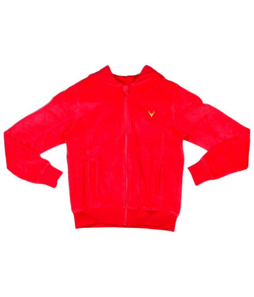 Allen Solly Red Cotton Sweatshirt with Hood