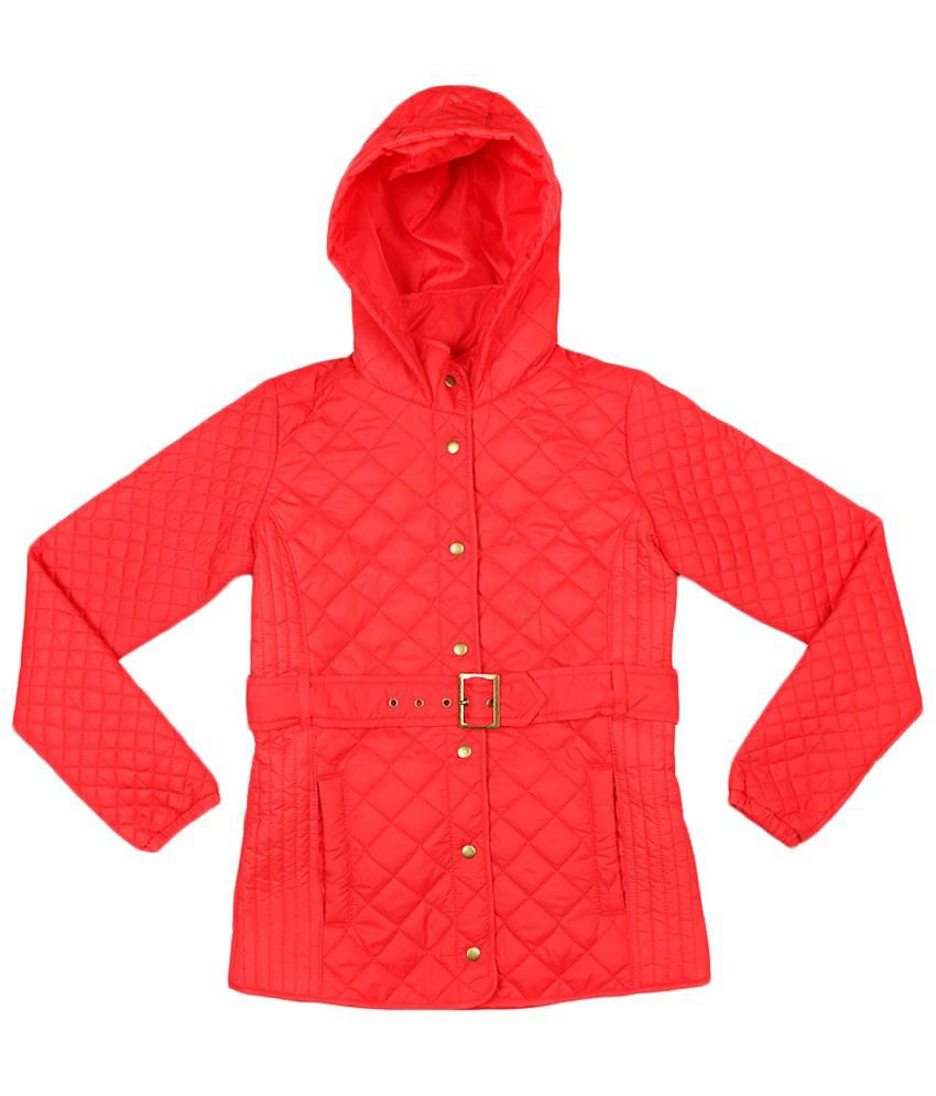 Allen Solly Red Full Sleeve Hooded Jacket