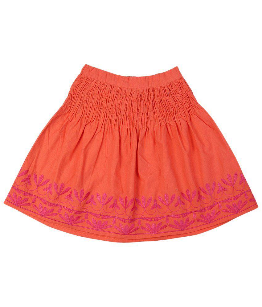 People Orange & Pink Cotton Skirt