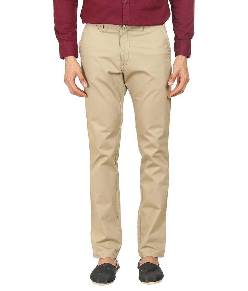 Blumerq Off-White Regular Fit Casual Flat Trousers