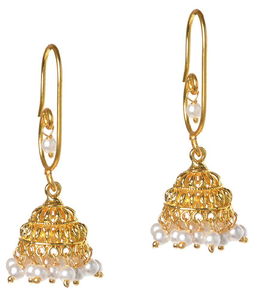 Jewelina Gems White and Golden Jhumkis