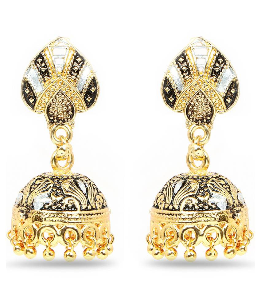 Johareez Golden & Black Brass Jhumki Earrings