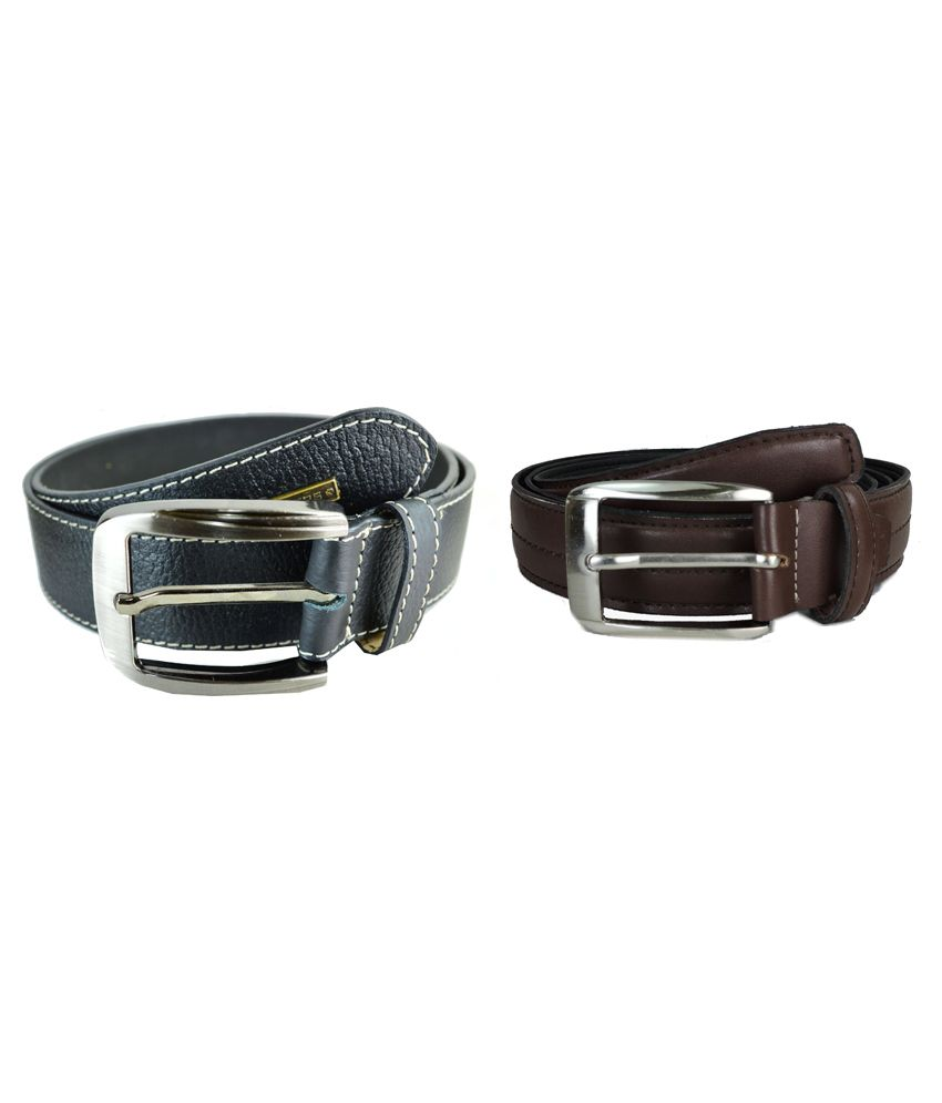 Sizzlers Black And Brown Formal Leather Belt For Men - Pack Of 2