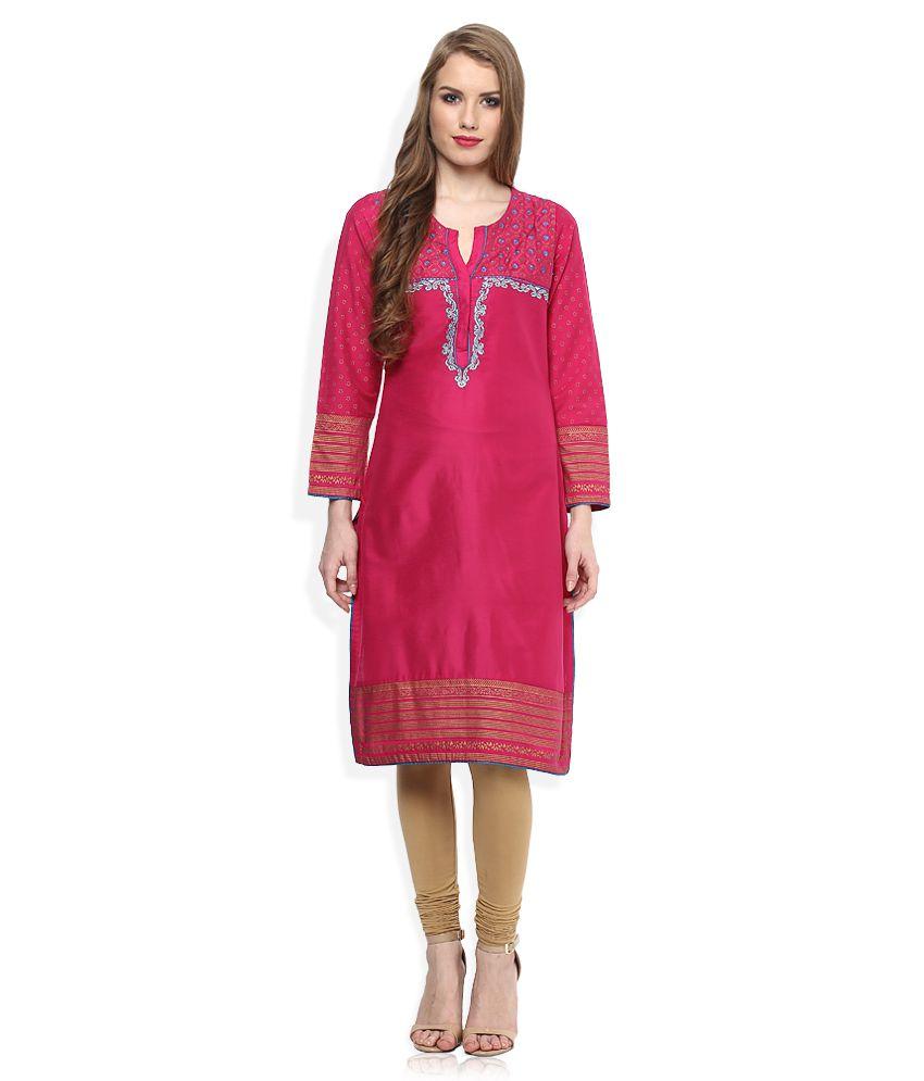 Rangriti Pink Poly Cotton Embroidered Kurti