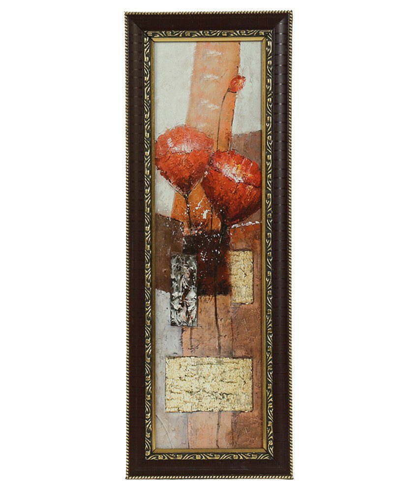 Truce Floral Wall Painting With Glass Frame