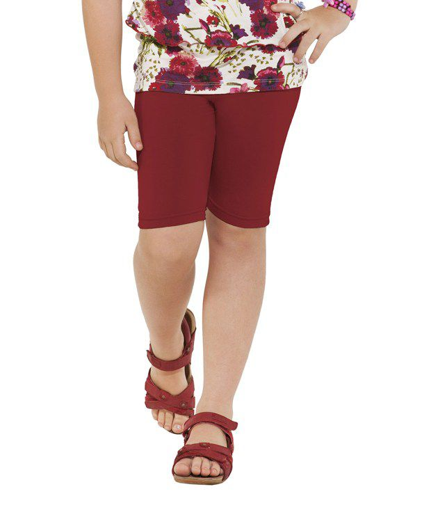 Go Colors Maroon Shorts For Girls