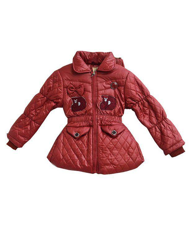 London Girl Brown Padded Jacket For Girls