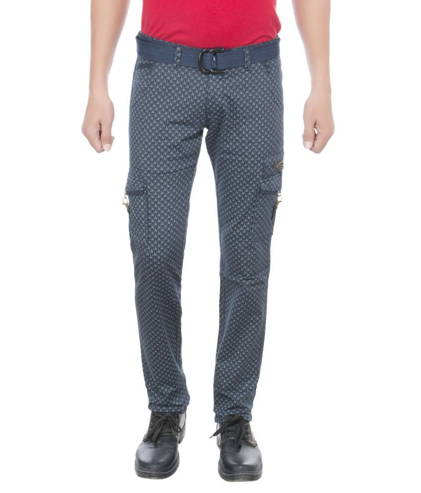 Greybooze Blue Slim Fit Casual Cargos