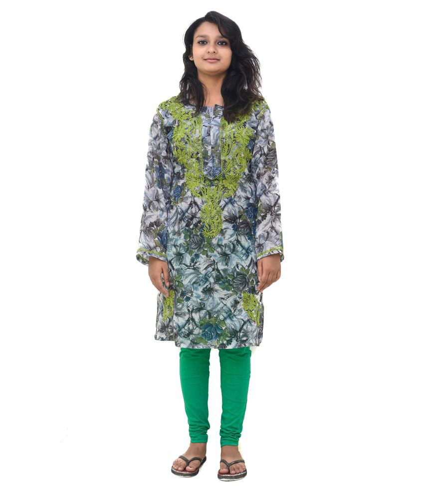 Indian Handicraft Standards Lucknowi Chikan Multi Poly Rayon Hand Embroidered Kurti