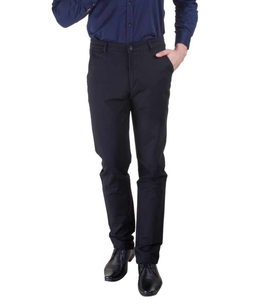 Kingswood Black Cotton Trousers