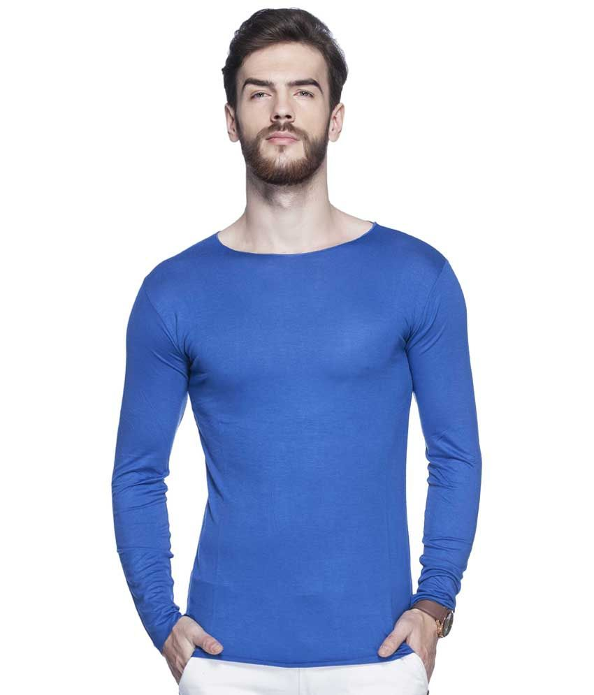 Tinted Deep Sky Blue Solid Round Neck T Shirt