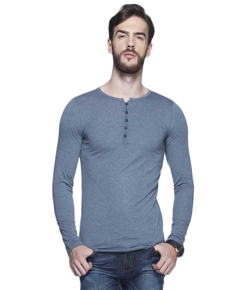 Tinted Medium Blue Solid Henley T Shirt