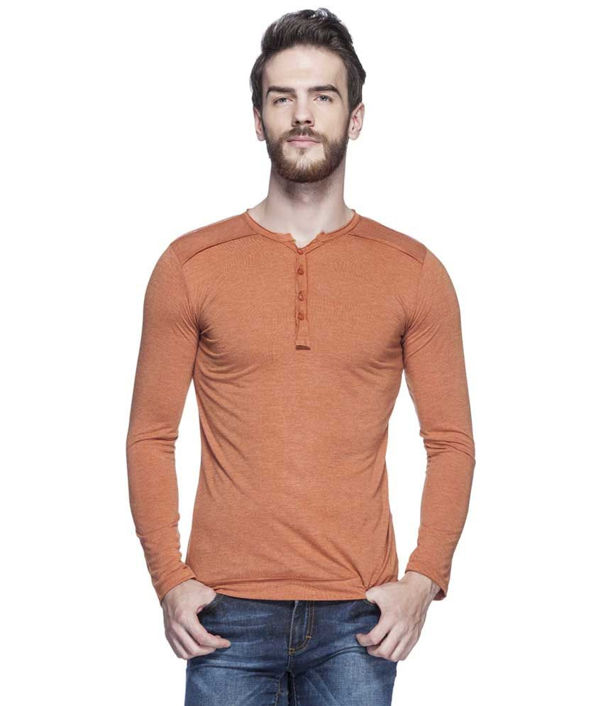 Tinted Rust Solid Henley T Shirt