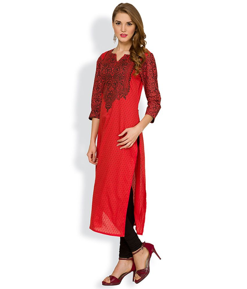 ffdba047b22 Vishudh Red Printed Kurta - Buy Vishudh Red Printed Kurta Online at ...