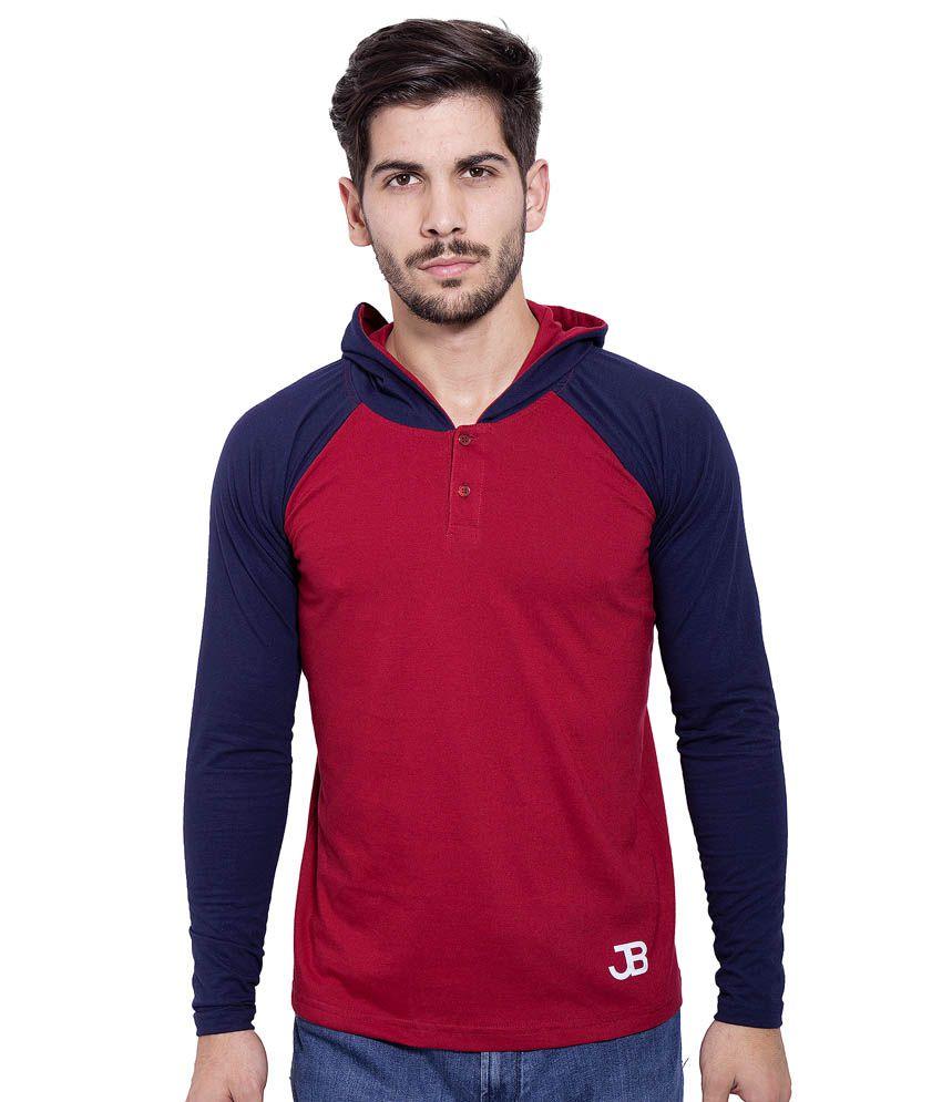 Jangoboy Maroon Cotton T-Shirt