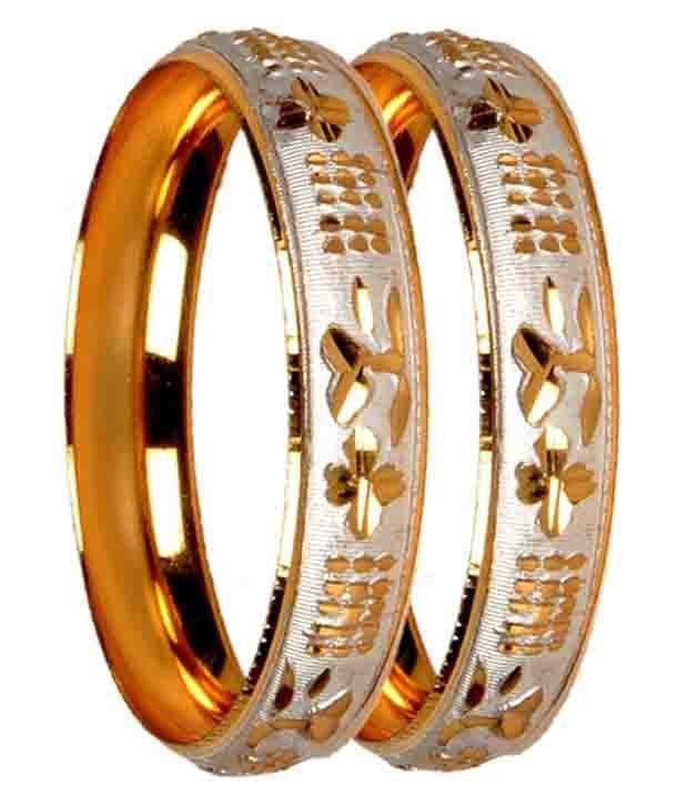 Loxia Golden Brass Designer Bangle Set