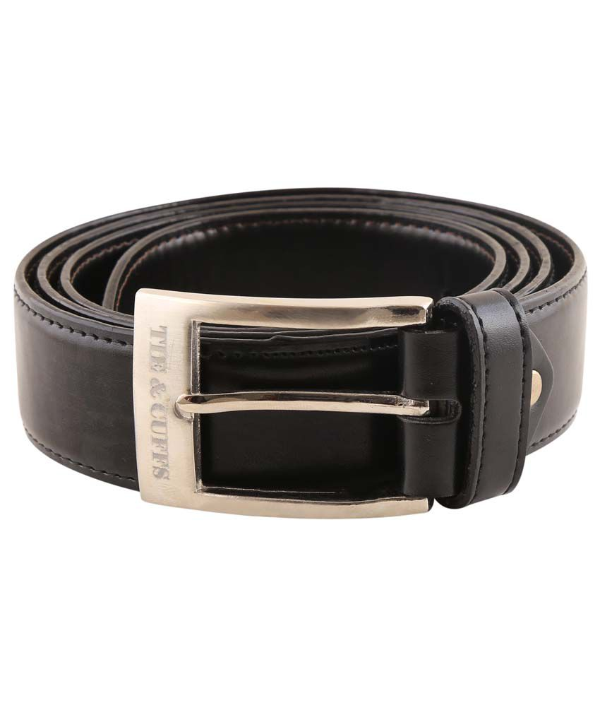 Tie & Cuffs Black Leather Formal Belt For Men