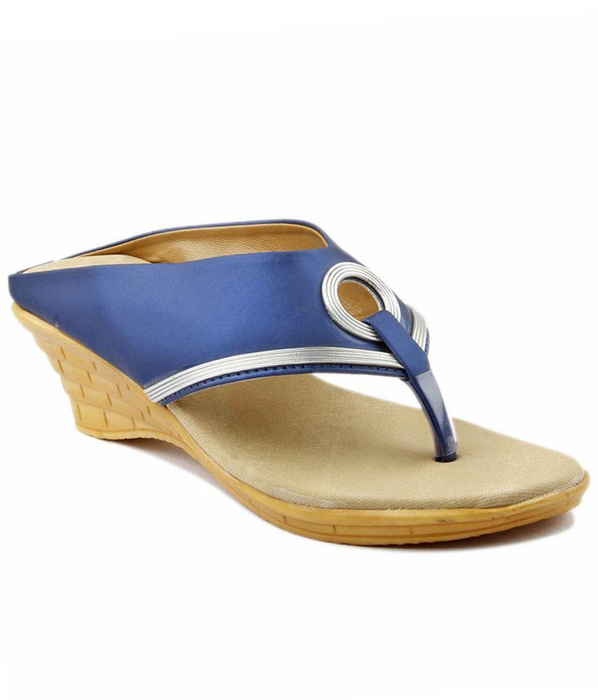 Ladies Comfort Blue Wedges Heels