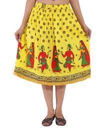 Decot Paradise Yellow Cotton Midi Skirt