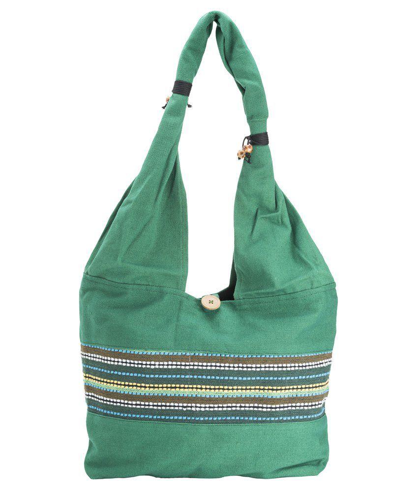 Fashiondrobe Middle Thread Pattern Handbag-Green