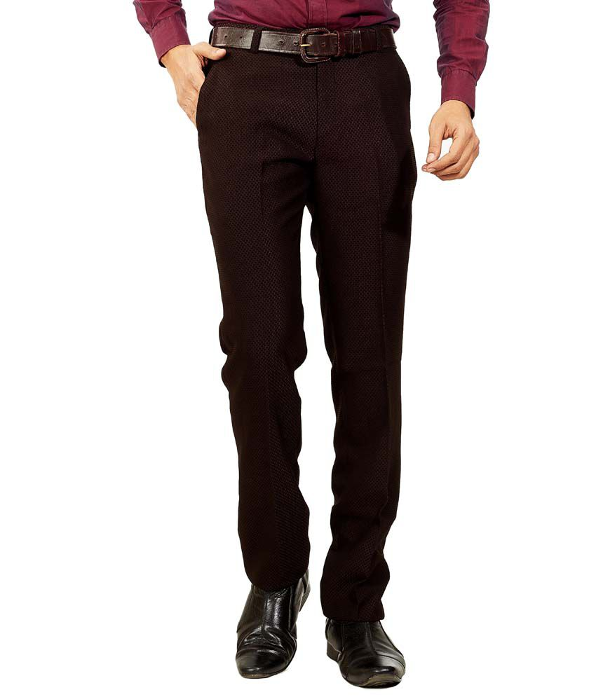 JBN Creation Brown Slim Fit Formal Flat Trouser