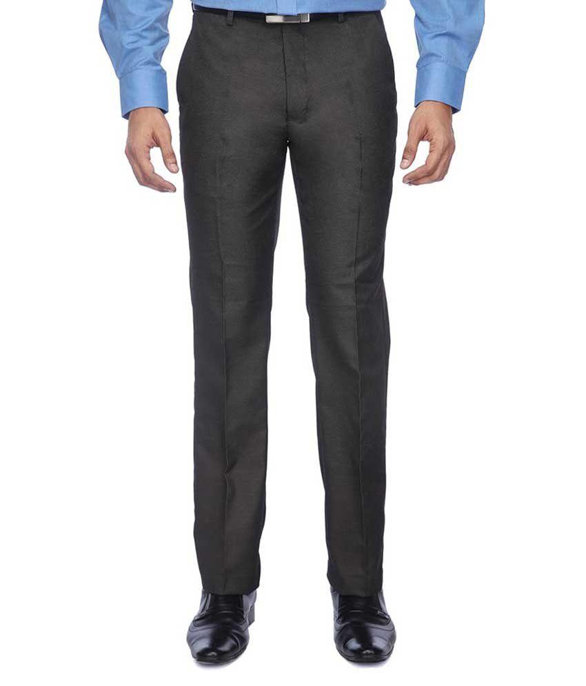 Meghdoot International Clothing Black Slim Fit Formal Flat Trouser
