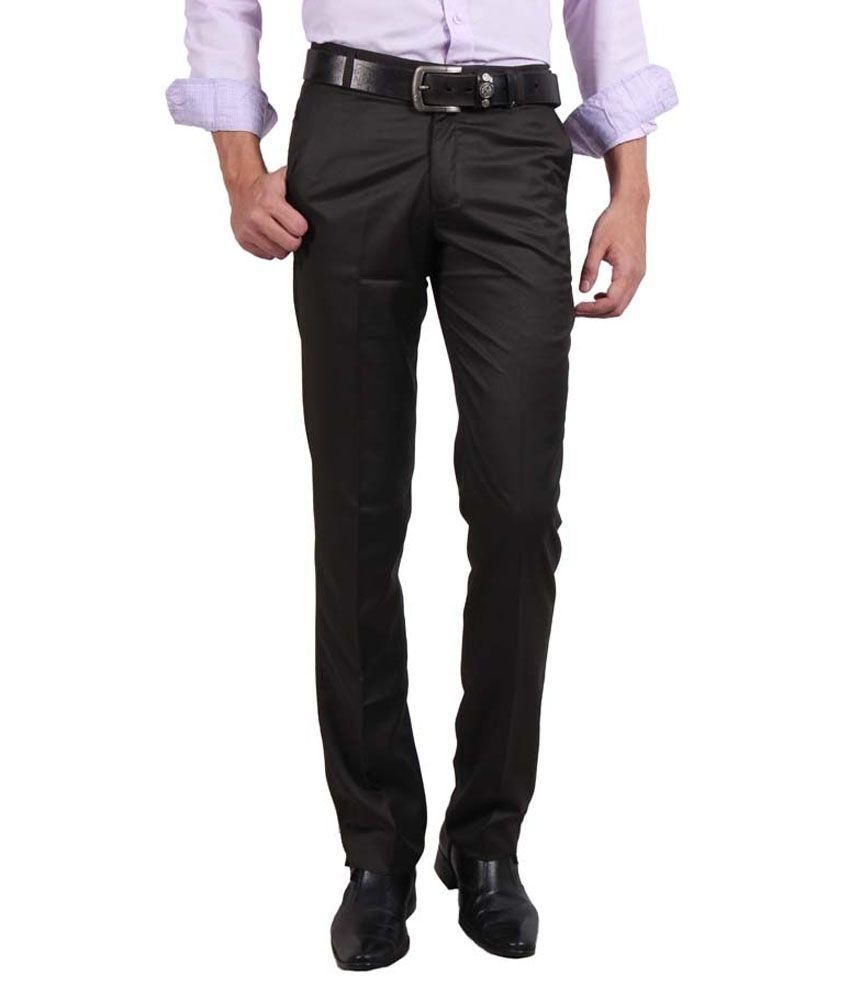 Solemio Brown Slim Flat Trouser