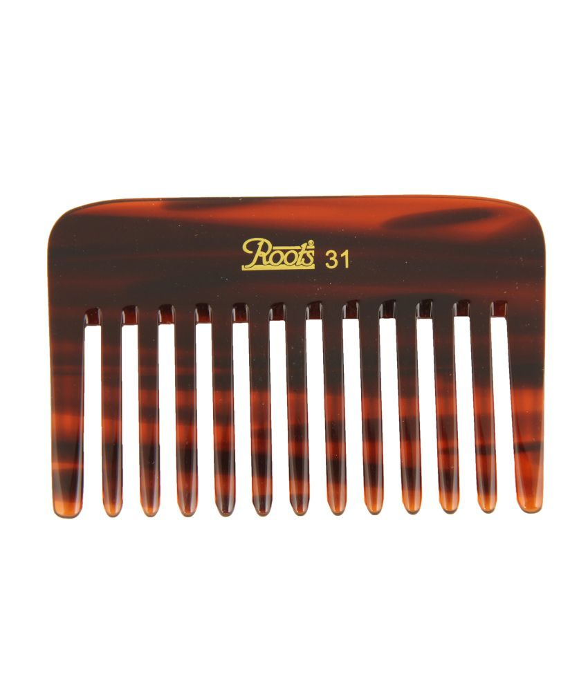 Roots Brown Wide Teeth Comb for Wavy/Curly Thick Short Hair (Pack of 7)