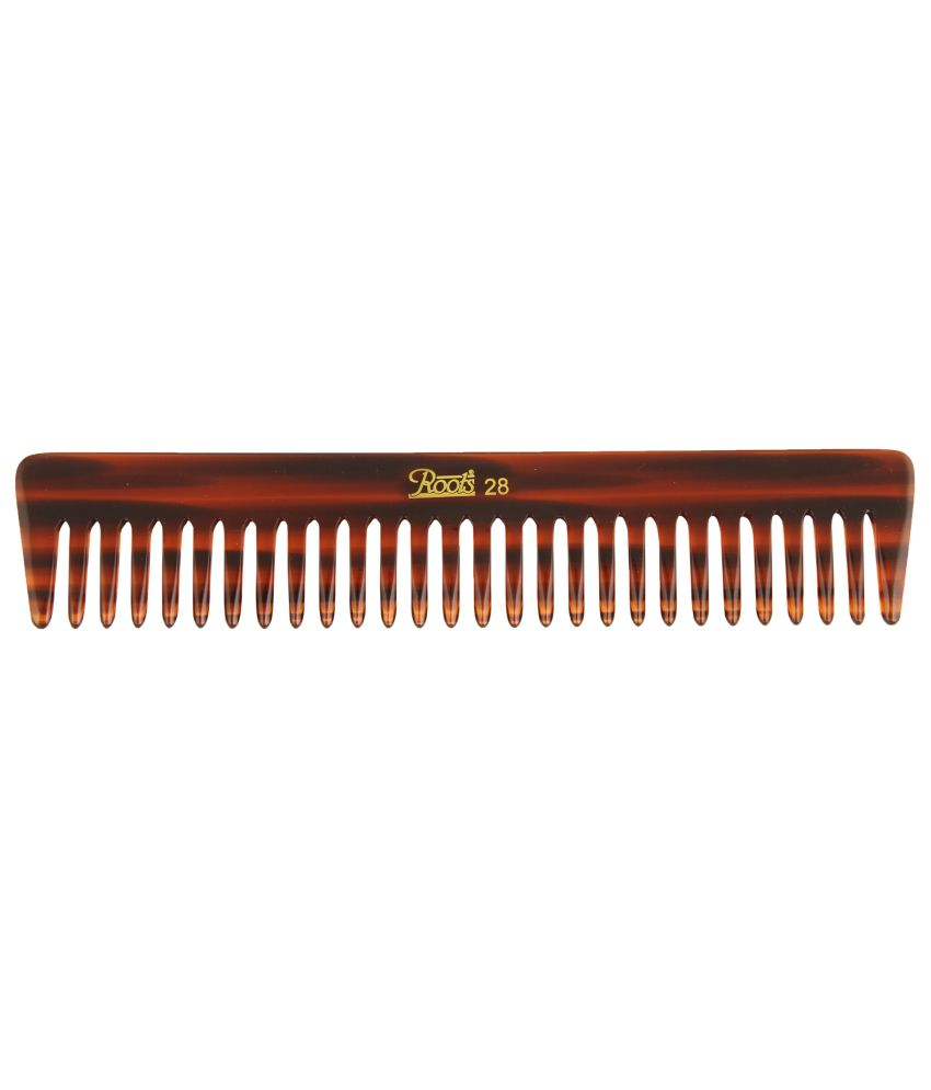 Roots Brown Wide Teeth Comb for Wavy/Curly Medium Length Hair (Pack of 7)