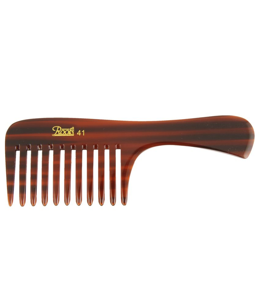 Roots Brown Wide Teeth Comb for Wavy/Curly Thick Short Hair (Pack of 5)