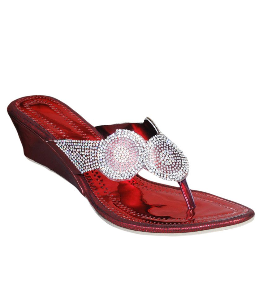 The Scarpa Shoes Red Ethnic Slip-On