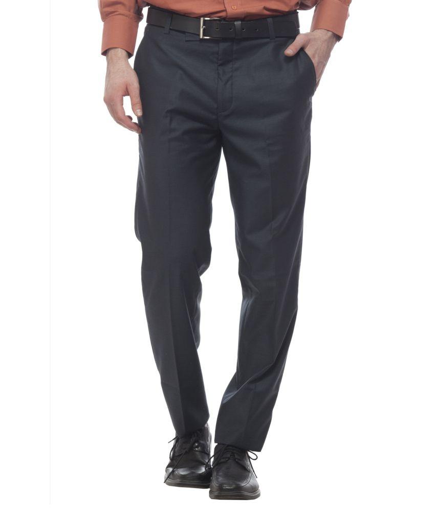 Divini Black Slim Fit Formal Flat Trouser
