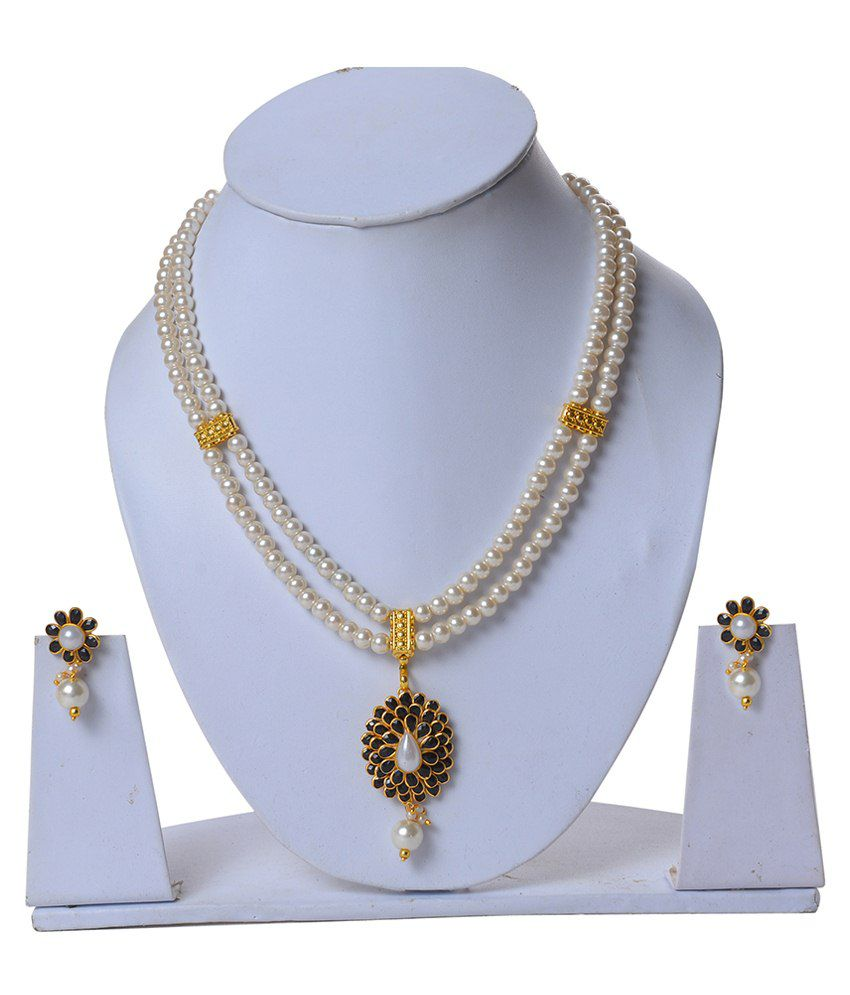 Jewelina Gems Black & White Brass Necklace Set