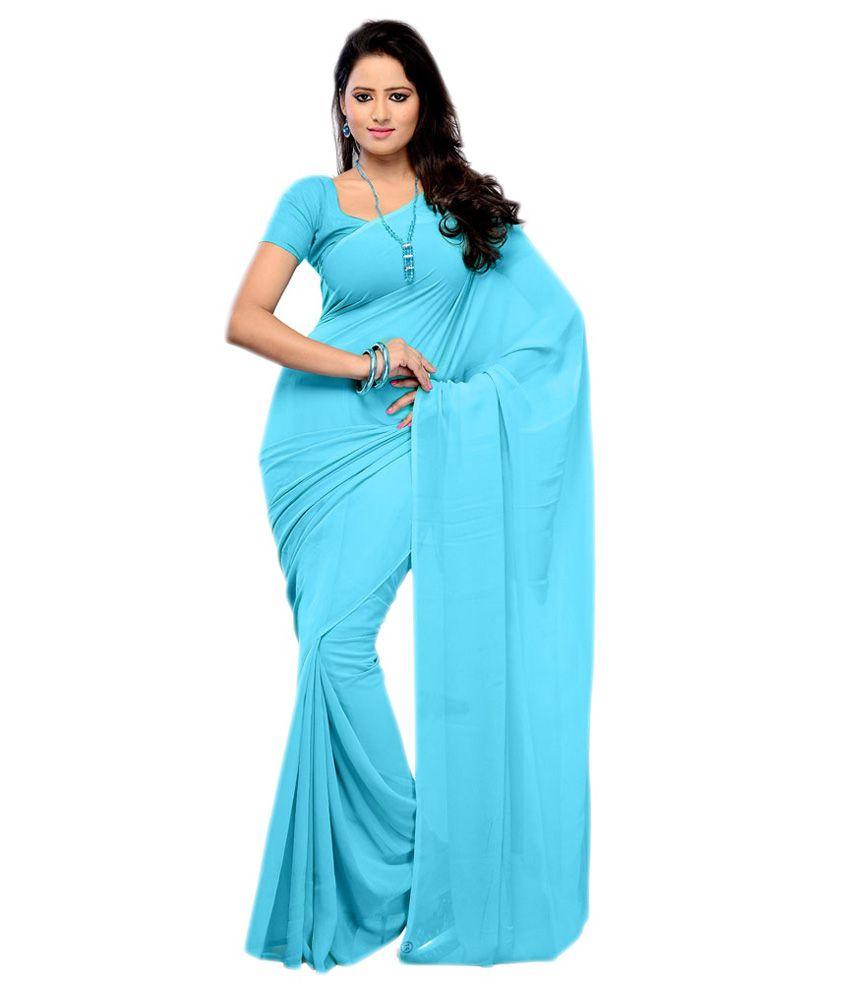 Rashmi Sarees Blue Semi Chiffon Saree  available at snapdeal for Rs.399