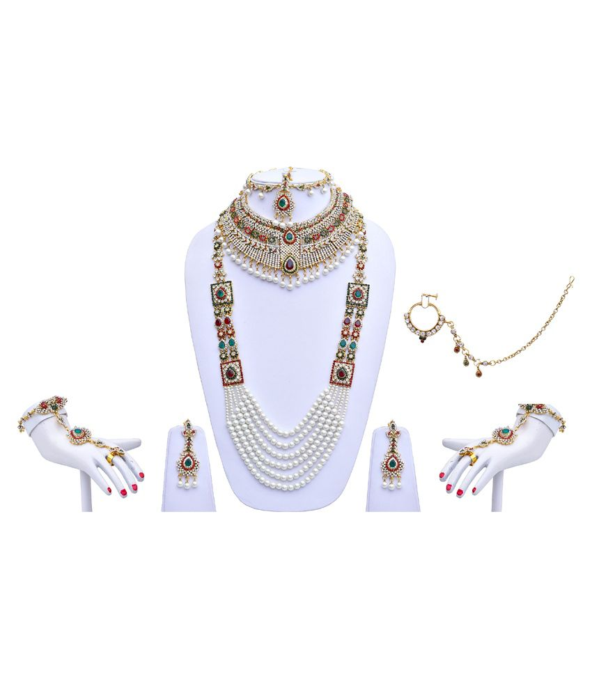 Lucky Jewellery Multicolour Alloy Bridal Necklace Set