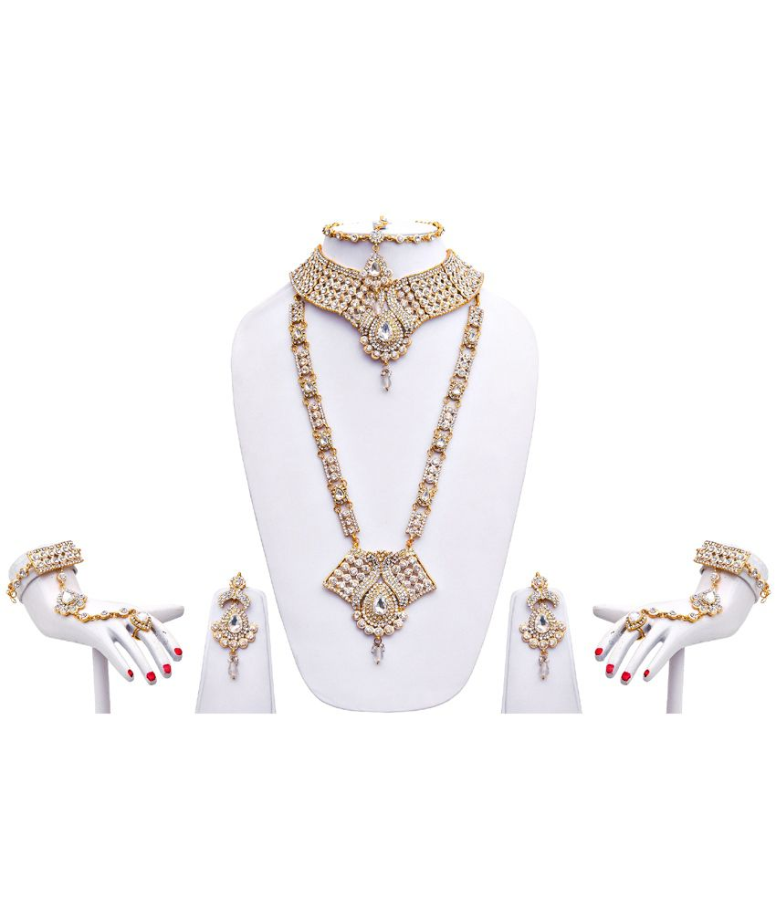 Lucky Jewellery White Alloy Bridal Necklace Set