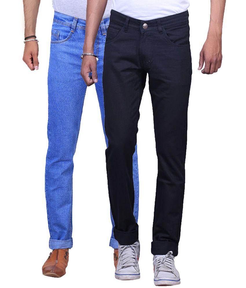 NE Blue & Black Regular Fit Jeans Pack Of 2