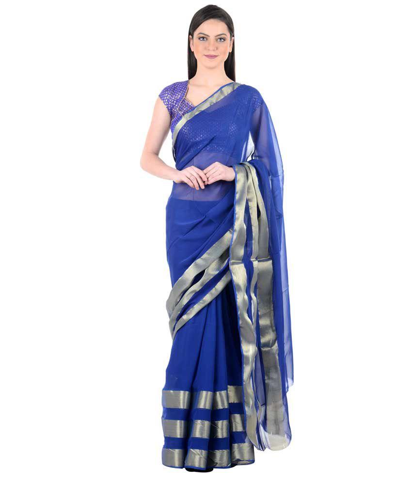 zeroed Blue Tussar Silk Saree