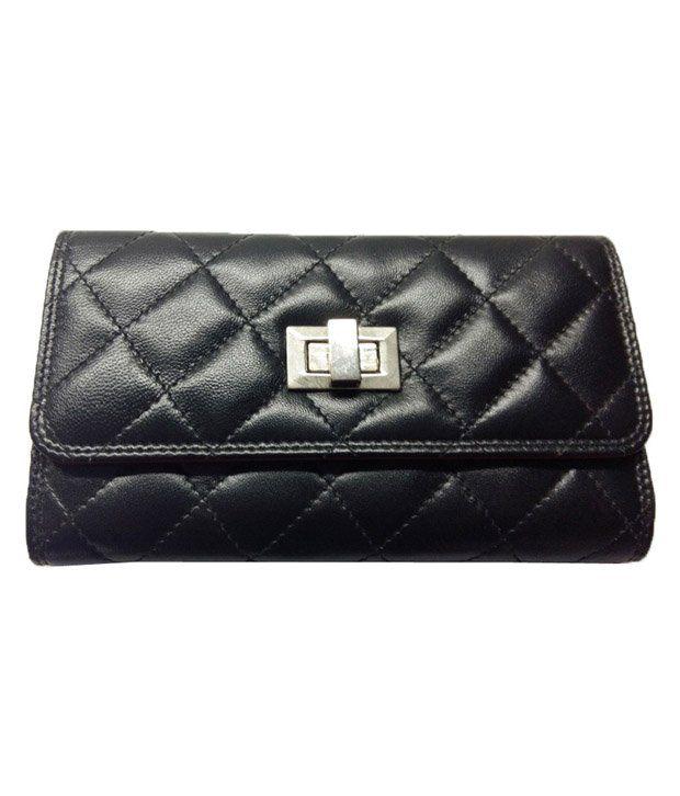 AHB Black Leather Regular Wallet For Women