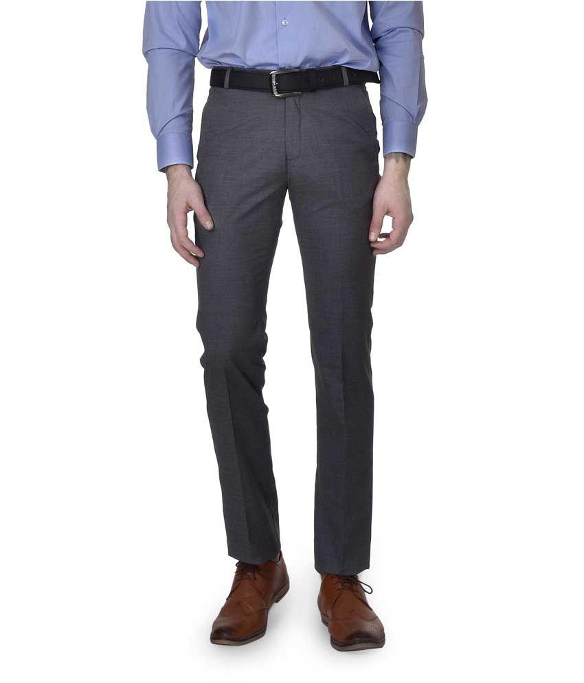 Kingswood Grey Slim Fit Formal Flat Trouser