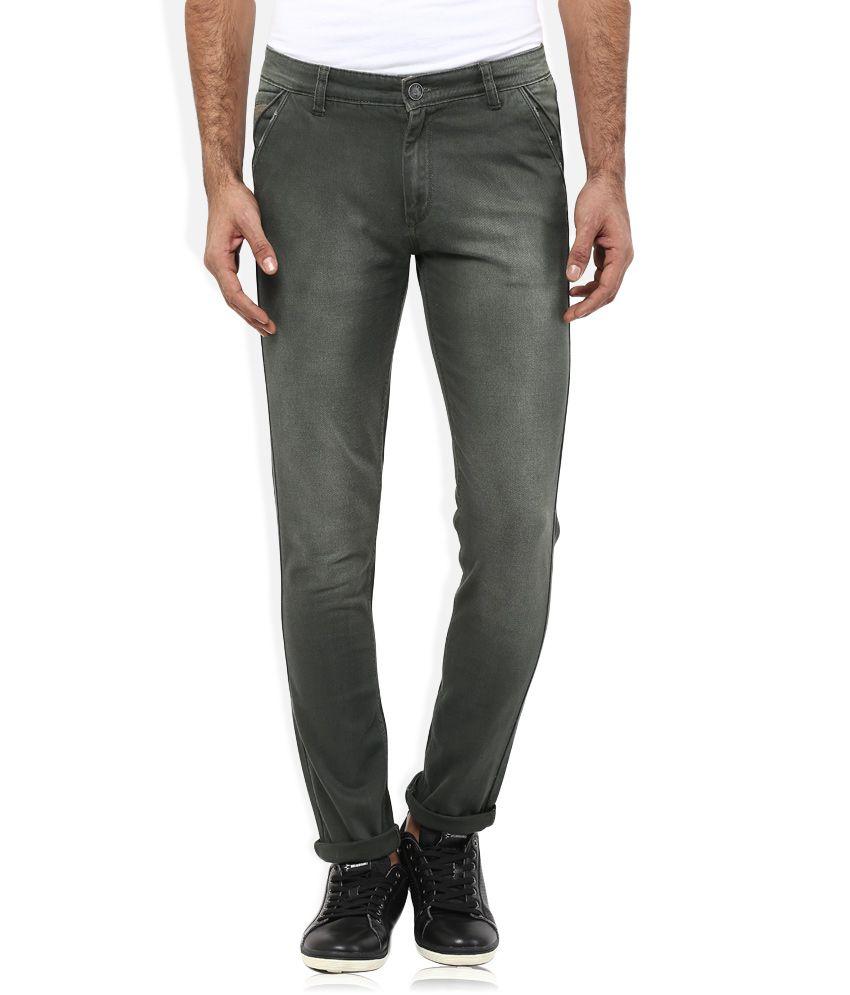 Spykar Olive Colour Medium Wash Slim Fit Jeans
